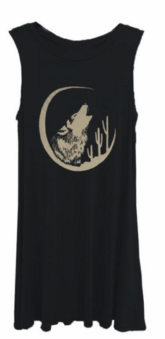 Hand Drawn Desert Spirit Howling Wolf Sleeveless Black Dress