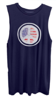 Peace Flag Navy Muscle Scoop Neck