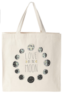 love by the moon graphic on canvas tote