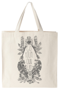 Go your own way hand drawn graphic on canvas tote