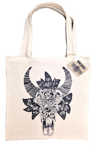 Balinese bull hand drawn graphic on canvas tote