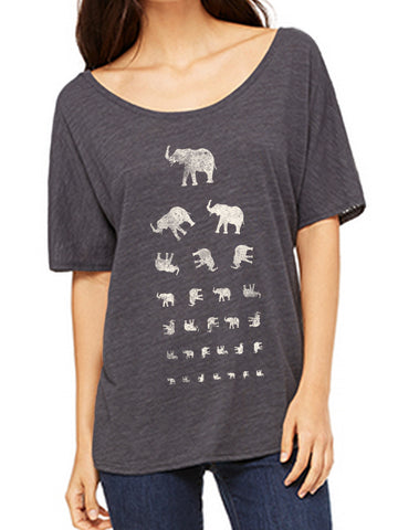 Check your vision with this elephant eye chart on a scoop neck charcoal heather tee.