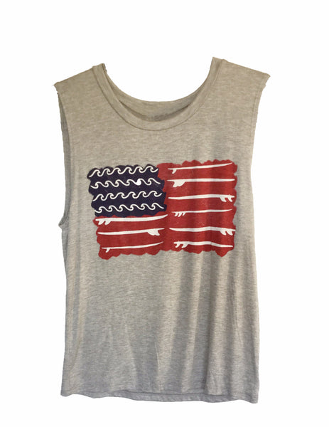 Surf Flag Heather Grey Muscle Tank
