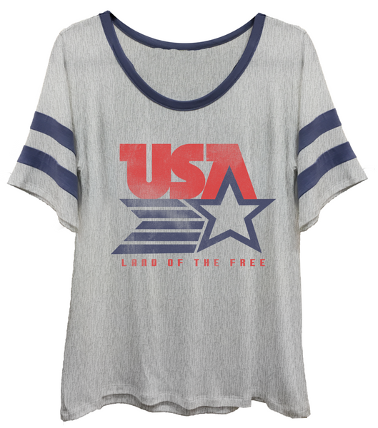 4th & Rose Land of the Free Athletic Ringer Tee