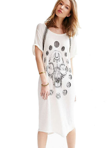 cosmic kitty hand drawn graphic on light weight french terry loose fit dress
