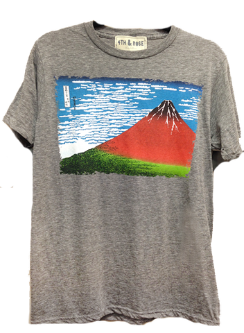 SALE - 4th & Rose Mt Fuji Japanese Print Triblend Grey Tee