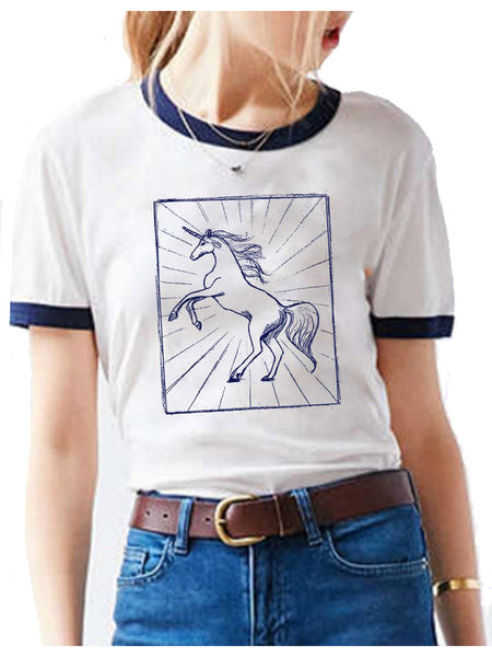 Hand drawn mystical unicorn on a white and blue ringer tee
