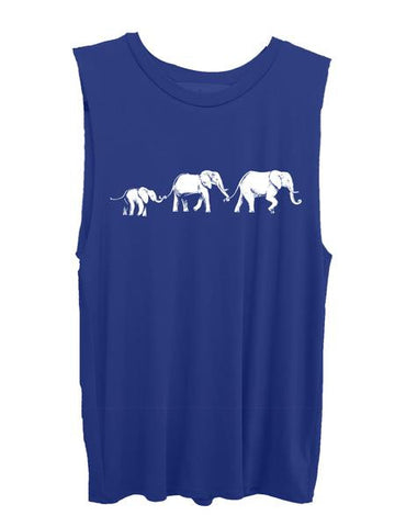 4th & Rose One Love Elephant Royal Blue Muscle Tank