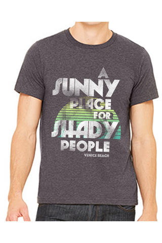 A sunny place for shady people venice beach mens retro charcoal heather graphic tee.