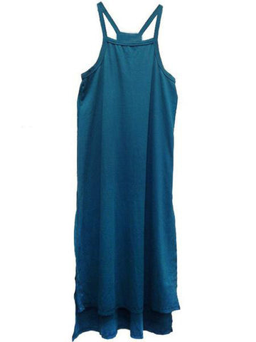 Blue slide slit tank dress