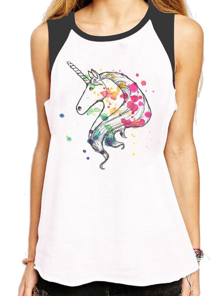 Rainbow Unicorn Charcoal and White Raglan