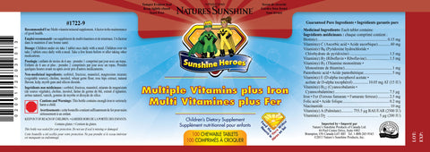 Sunshine Heros Mutliple Vitamins plus Iron (100 chewable tablets)