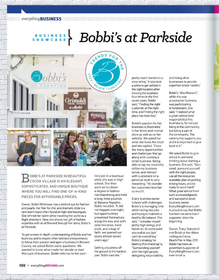 Everything Brevard Magazine Featuring Bobbi's!