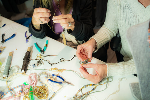 close up of jewelry making