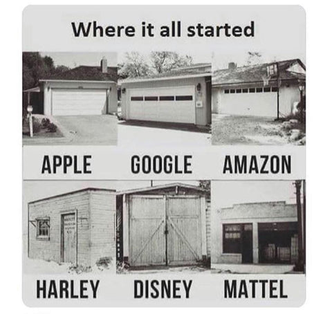 the origins of Apple, Google, Amazon, out of a garage