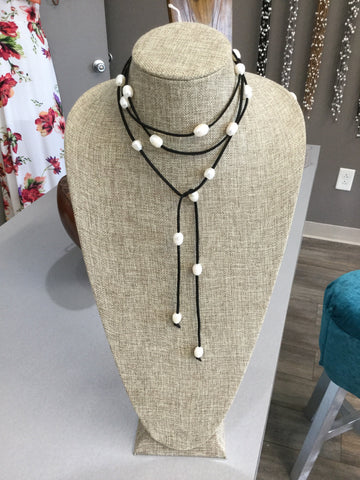 Black Leather and White Pearl Lariats