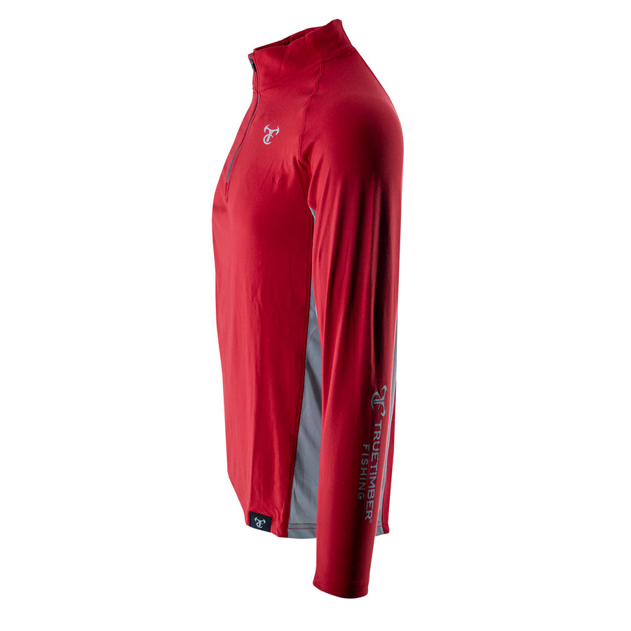 1164 DeepLedge 1/4 Zip - Red Hot/Drizzle