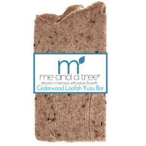 Cedarwood Yuzu Loofah Exfoliating Soap Scrub Bar - me and a tree skincare