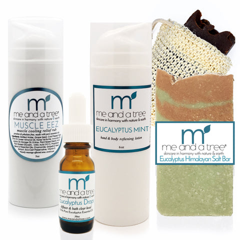 Natural Skin Care Eucalyptus Relief Gift Set Soap Lotion Muscle Rub