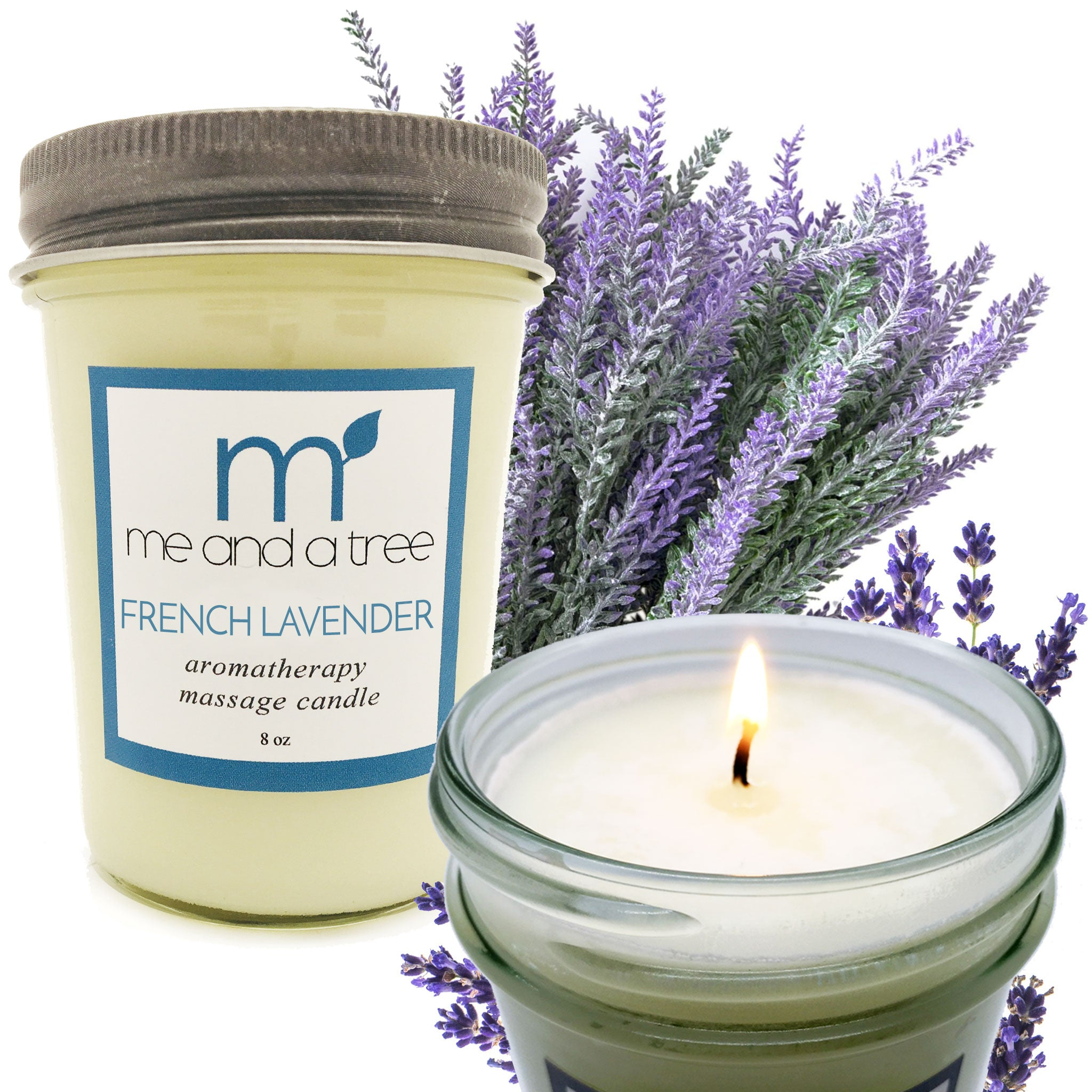 Natural Long & Clean Burning French Lavender Soy Candle Calming Relax