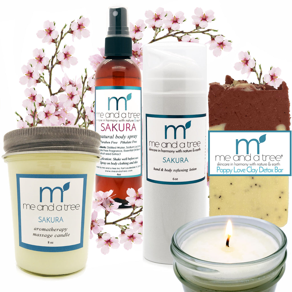 Natural Skin Care Sakura Lotion Candle Spray Poppy Love Soap Gift Set