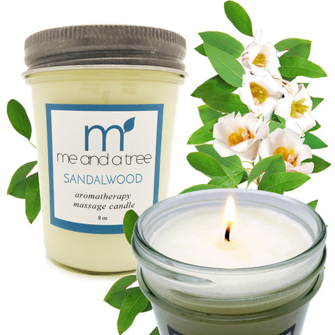 Sandalwood Aromatherapy Soy Massage Candle - me and a tree skincare