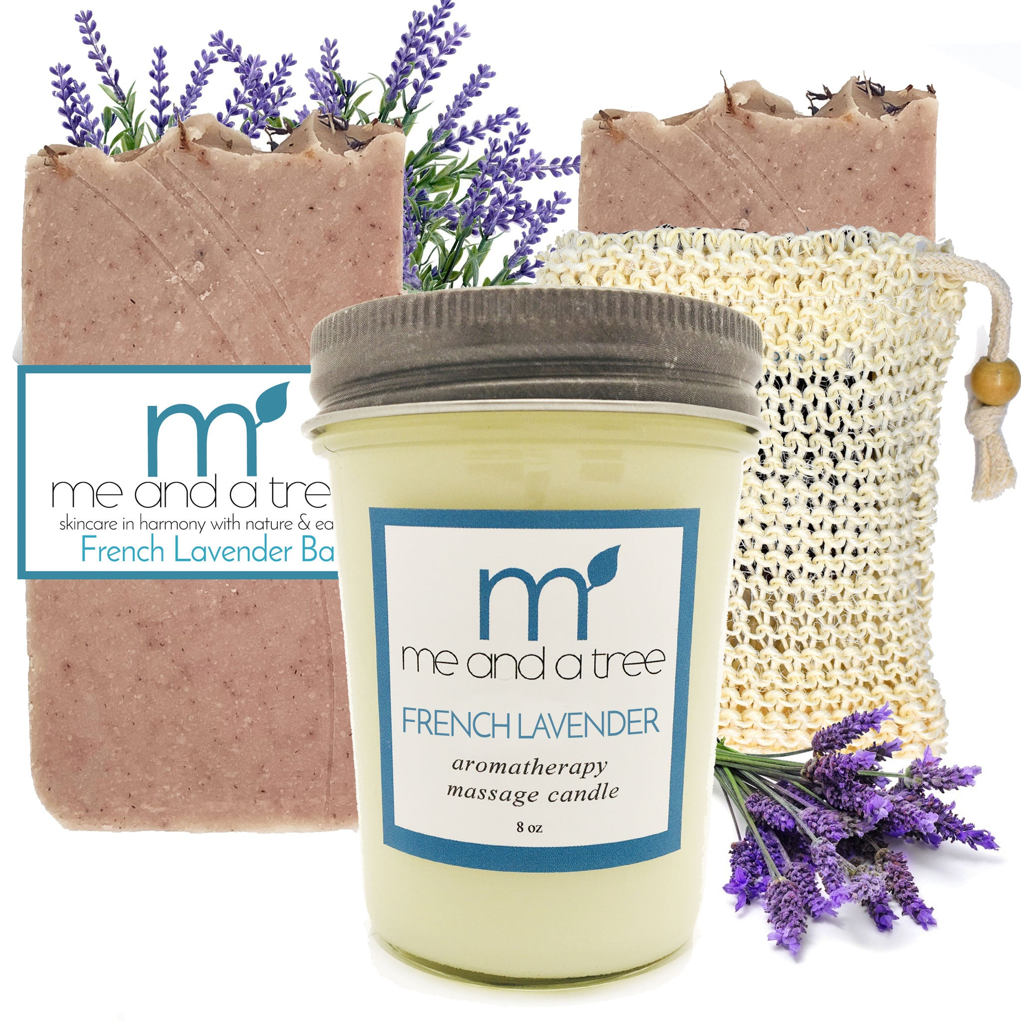 Best Natural French Lavender Candle Soap Skin Care Gift Set Women Men