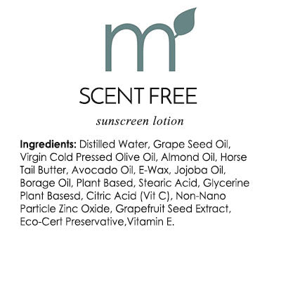 Natural Skin Care Scent Free Sunscreen Reef Safe Biodegradable