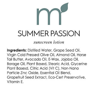Natural Skin Care Summer Passion Sunscreen Reef Safe Biodegradable