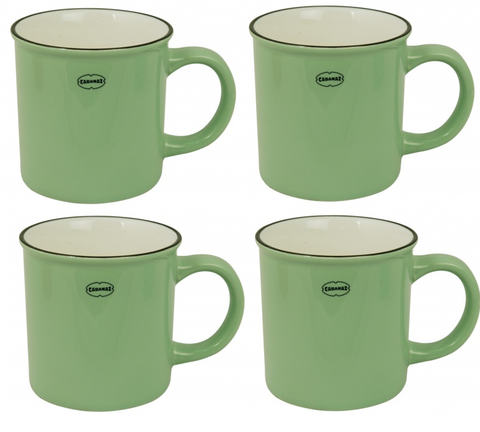 Cabanaz - Cup, Ceramic Coffee Mug Set of 4 -Vintage Green