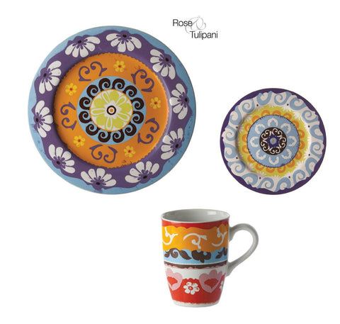 Nador Set 6 Dinner Plates, Side Plates, and Mugs