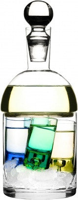 Schnapps carafe and ice container with 4 schnapps glasses