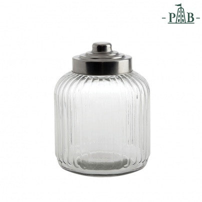 TUSCANIA RIBBED GLASS CONTAINER D18xH24