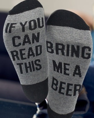 Just Arrived!! If you can Read this..bring me BEER Socks