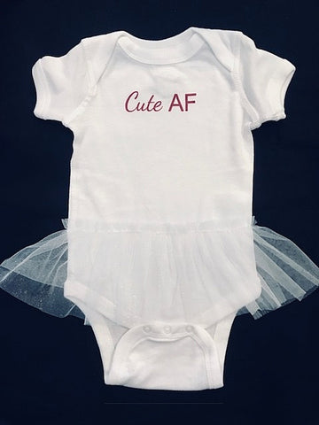 Cute AF White Tutu Onesie/Infant - MUST HAVE
