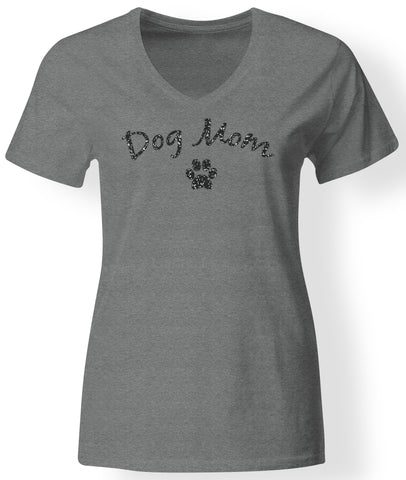 Womens - Dog Mom Black Glitter V-neck ~ NEW!