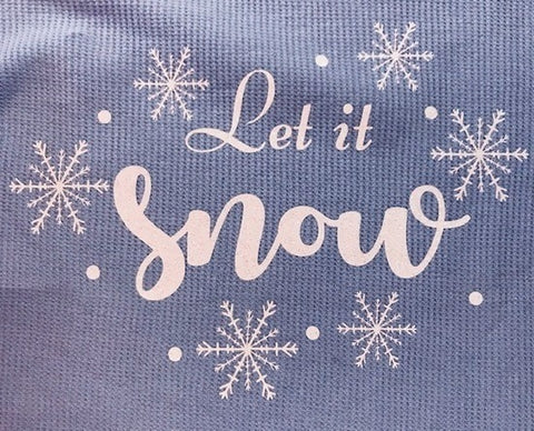 GLITTER ~ Let it Snow Ladies Light Blue Thermal Long Sleeve