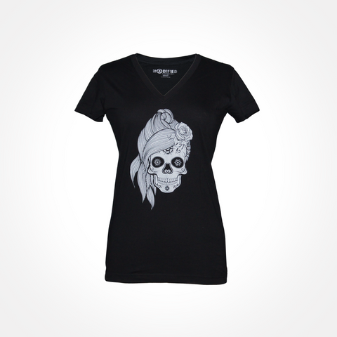 Womens White Sugar Skull V Neck T