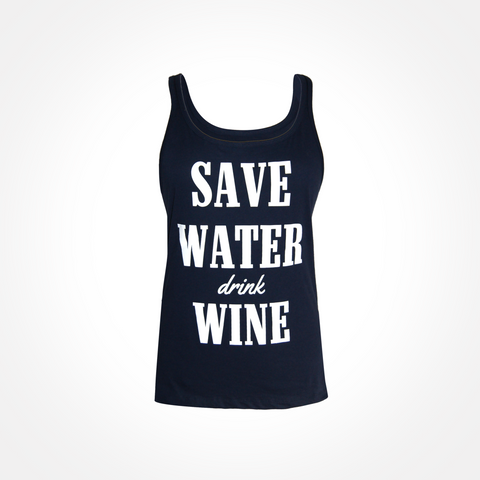 Womens ~ Save Water Drink Wine Flowy Racerback Tank