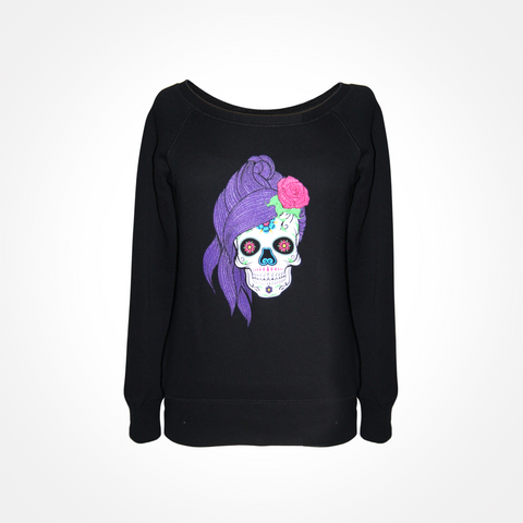 Womens Sugar Skull Off Shoulder Fleece Wide Neck Sweatshirt