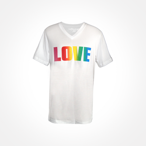 Mens/Womens ~ Rainbow LOVE ~ V-Neck T Shirt - White