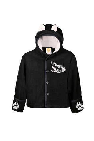 Kids Black Wolf Hooded Jacket