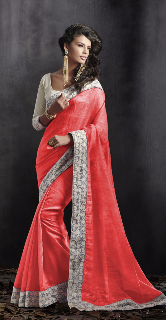 Peach color bhagalpuri silk saree