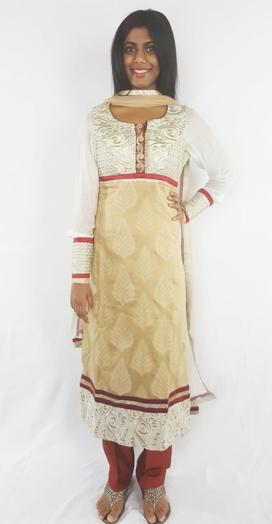 Beige and Off white salwar suit