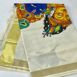Kasavu saree with mural painting
