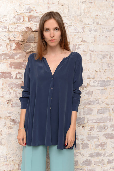 Casetu Silk Blouse - denim