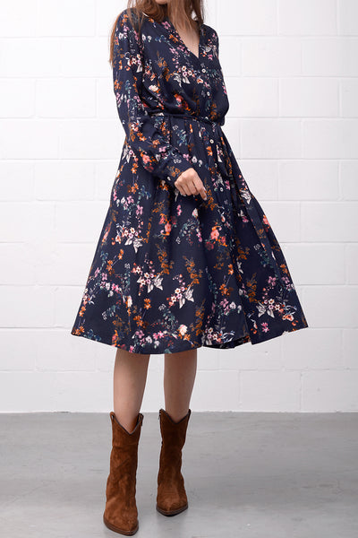 Adelheid Dress - black flower