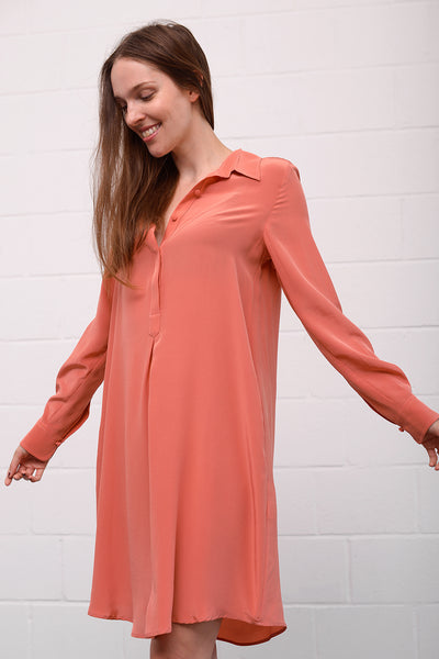 Asetal Silk Dress - flamingo
