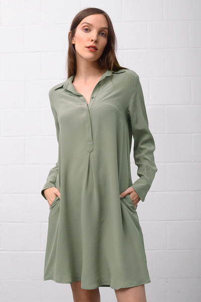 Asetal Silk Dress - salvia