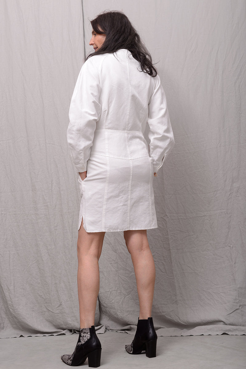 Astina Linen Blend Dress - bianco